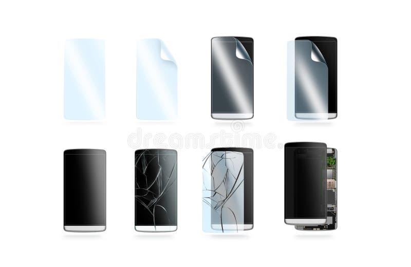 Telefon ochrony ikony ustawiać, 3d ilustracja royalty ilustracja