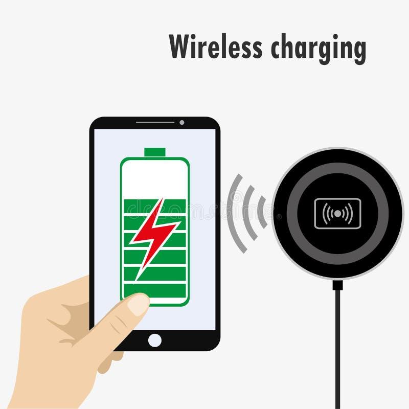 Telefon på en trådlös laddning vektor illustrationer