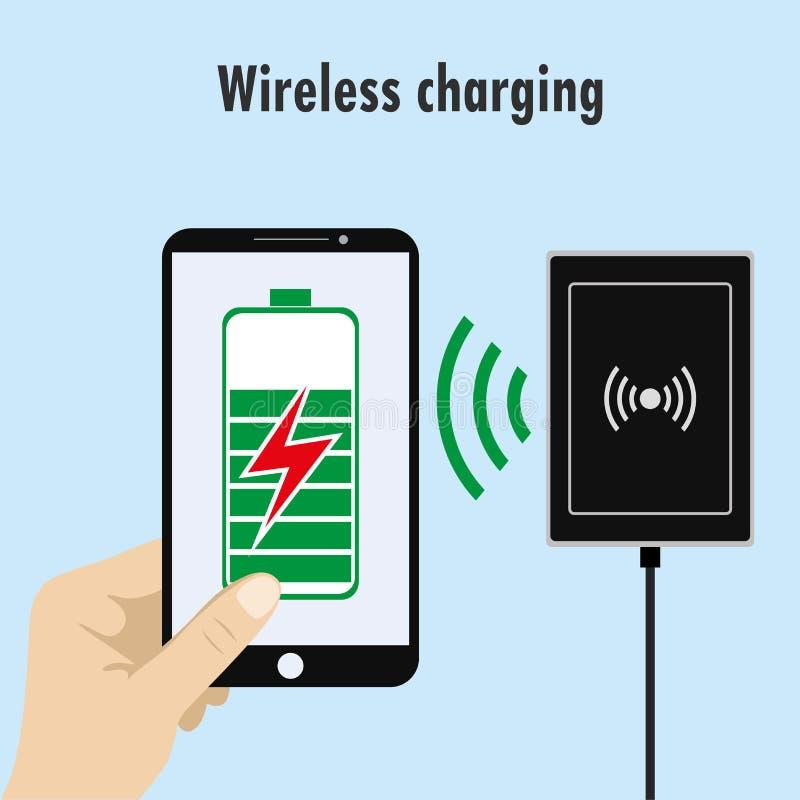 Telefon på en trådlös laddning stock illustrationer