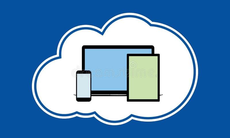Telefon, pastylka i pecet w chmurze, royalty ilustracja