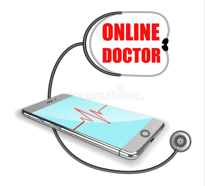 Telefon pulslinje, stetoskop Förkroppsliga direktanslutet, begreppet av avlägsen medicin Realistiska illustrationer för vektor royaltyfri illustrationer