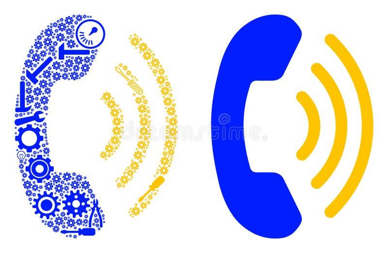 Telefon Ring Mosaic von Service-Werkzeugen stock abbildung
