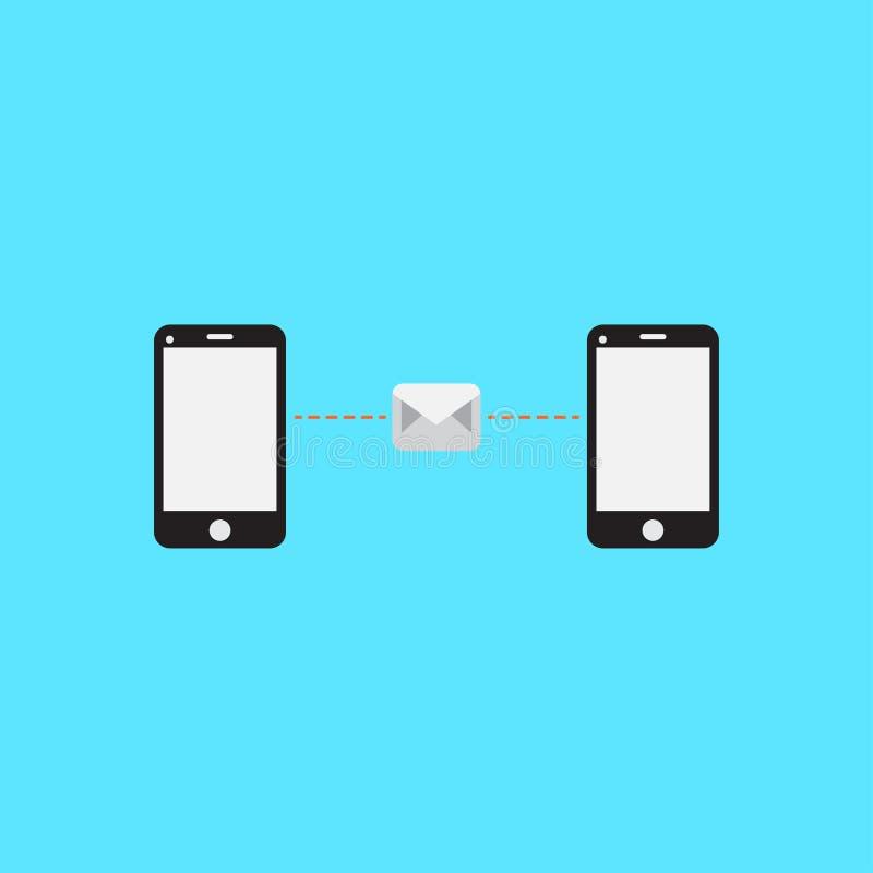 Telefon sendet E-Mail Telefon sendet Mitteilung Flaches Design Set der lustiger Zeichentrickfilm-Figurfedern und -bleistifts lizenzfreie abbildung