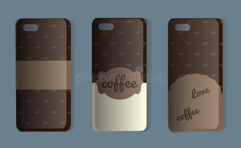 Telefon skrzynka z kawa wzorem Set brąz tylne pokrywy Wektorowa ilustracja majcheru lub próbki pokrywa dla kawowych kochanków ilustracja wektor
