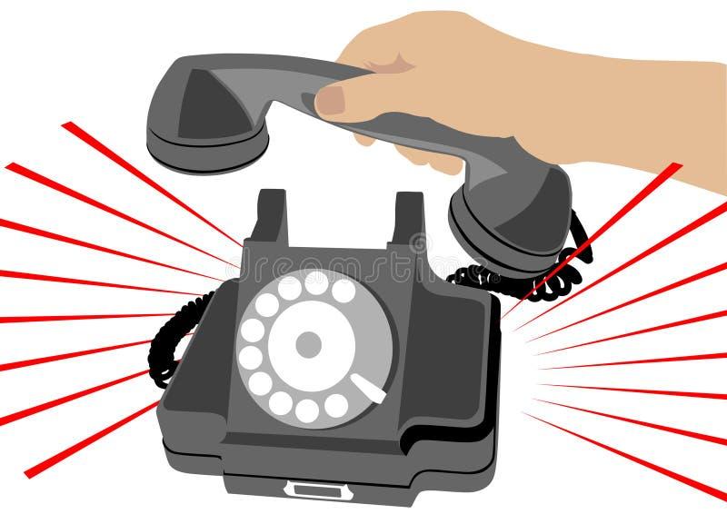 Telefon und menschliche Hand stock abbildung
