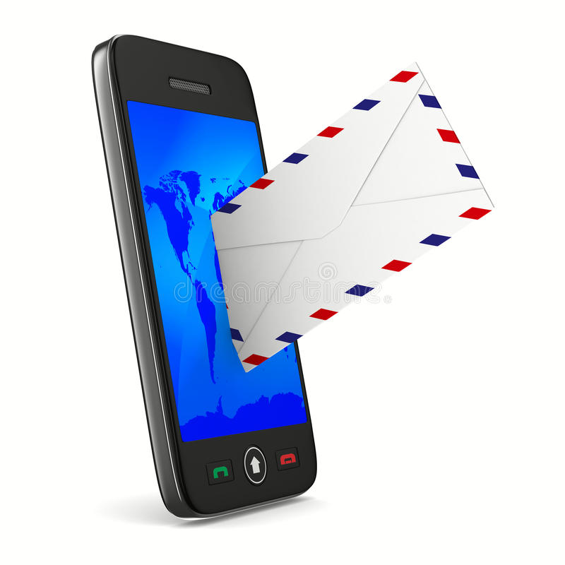 Telefon und Post auf weißem Hintergrund stock abbildung