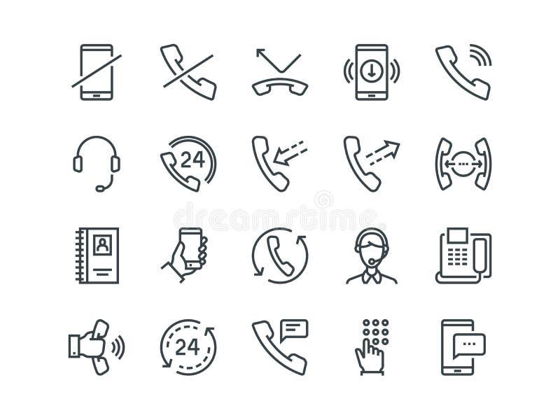 Telefon Uppsättning av översiktsvektorsymboler Inkluderar liksom appeller, online-service, mobiltelefonen och mer Redigerbar slag royaltyfri illustrationer