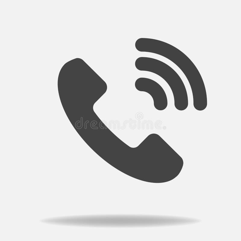 Telefon wektorowa ikona na mieszkanie stylu Handset z cieniem Łatwy editi ilustracja wektor