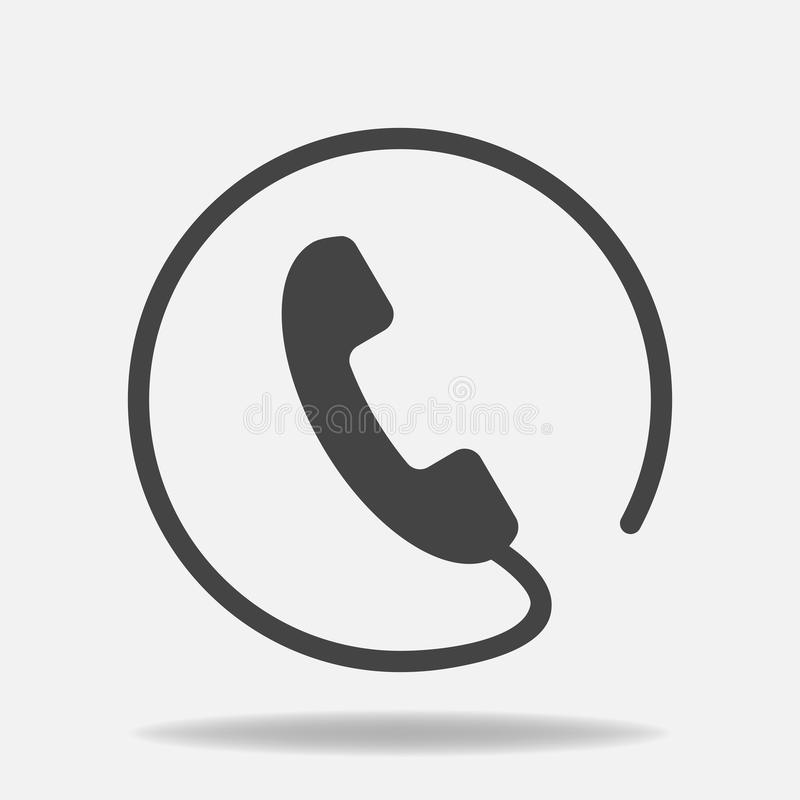 Telefon wektorowa ikona na mieszkanie stylu Handset z cieniem Łatwy editi fotografia stock
