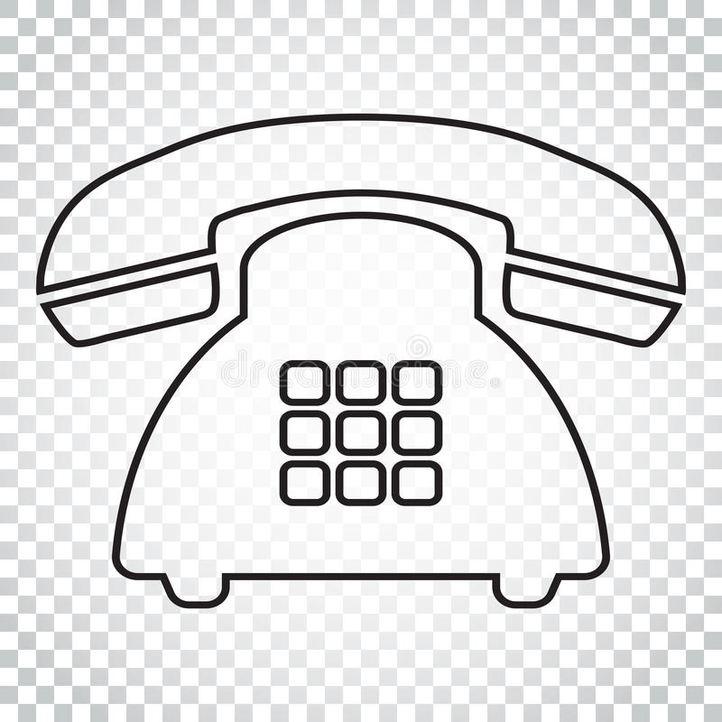 Telefon wektorowa ikona w kreskowym stylu Stary rocznika telefonu symbol il royalty ilustracja