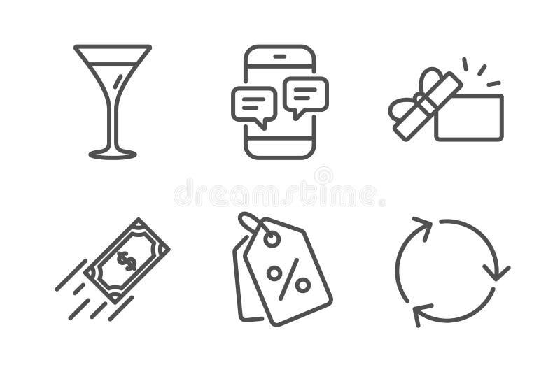 Telefon wiadomo?ci, Martini szk?o i Szybkie p?atnicze ikony ustawiaj?cy, Rabat etykietki Rozpiecz?towany prezent i Przetwarza? zn ilustracja wektor