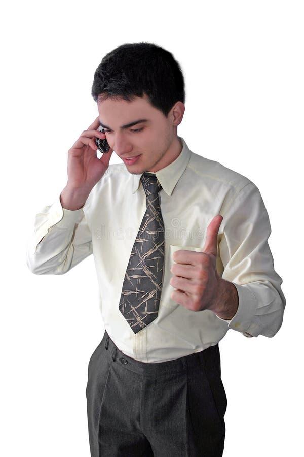 telefon z biznesmena young zdjęcia royalty free