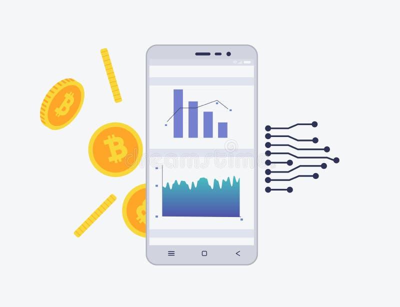 Telefon z crypto walutą na ekranie Bitcoin handlarski pojęcie Diagram i statystyki dla wiszącej ozdoby app ilustracji