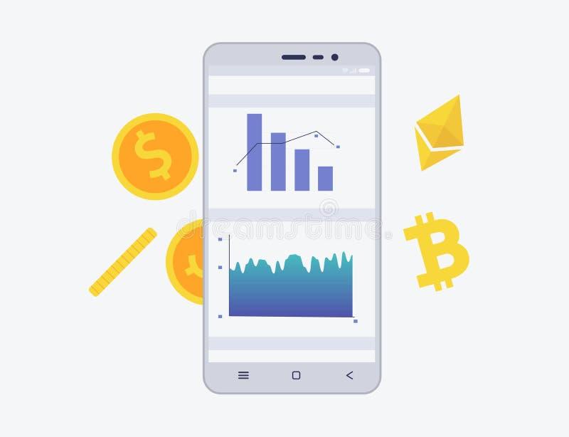 Telefon z crypto walutą na ekranie Bitcoin i etherium handlarski pojęcie Diagram i statystyki dla wiszącej ozdoby app ilustracja wektor