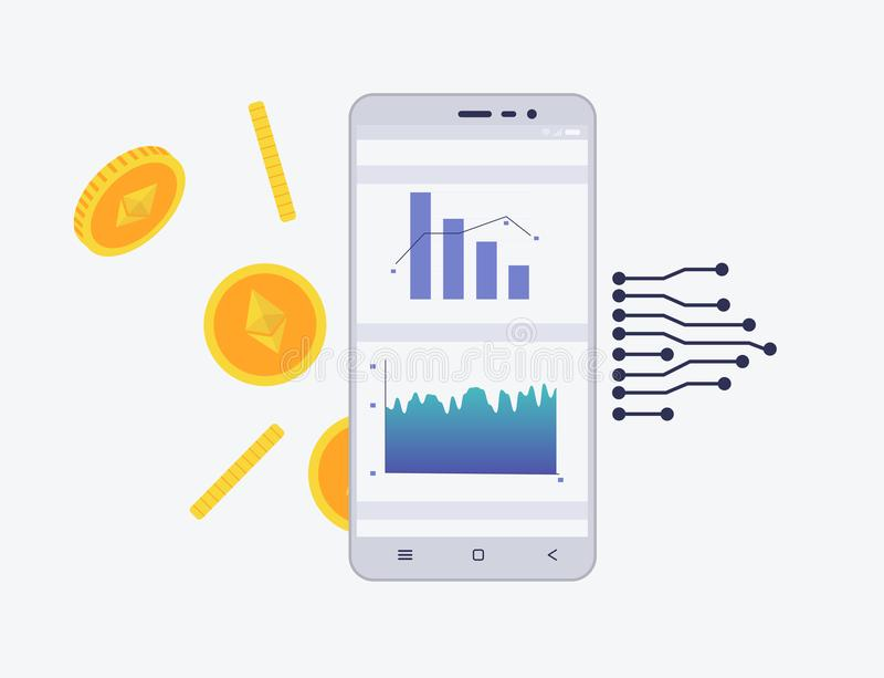 Telefon z crypto walutą na ekranie Etherium handlarski pojęcie Diagram i statystyki dla wiszącej ozdoby app ilustracja wektor