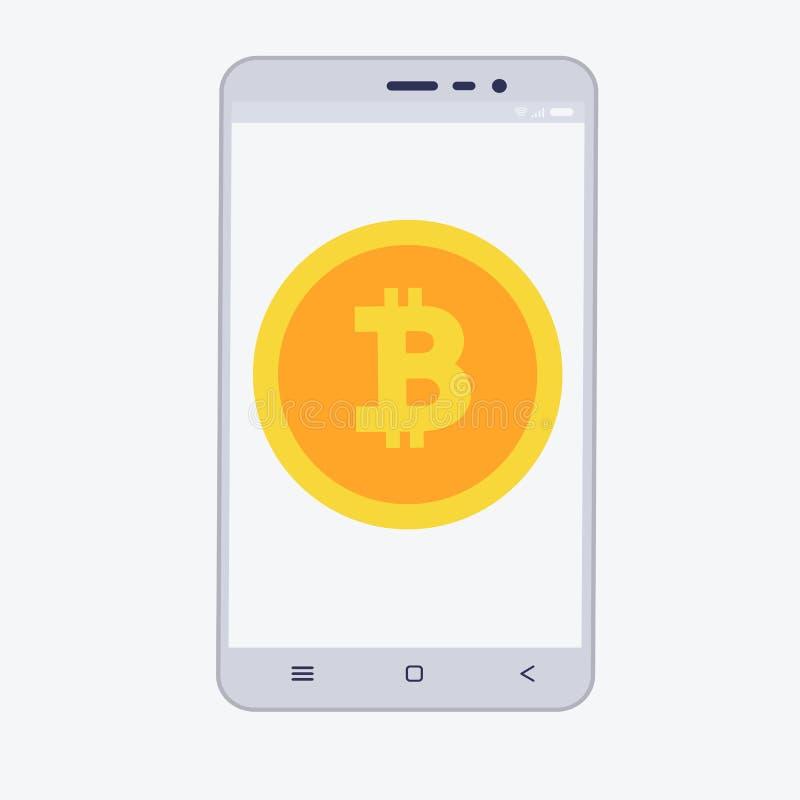 Telefon z cryptocurrency na ekranie Bitcoin handlarski pojęcie royalty ilustracja