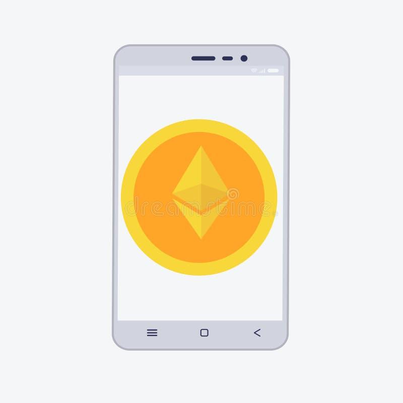 Telefon z cryptocurrency na ekranie Etherium handlarski pojęcie ilustracja wektor