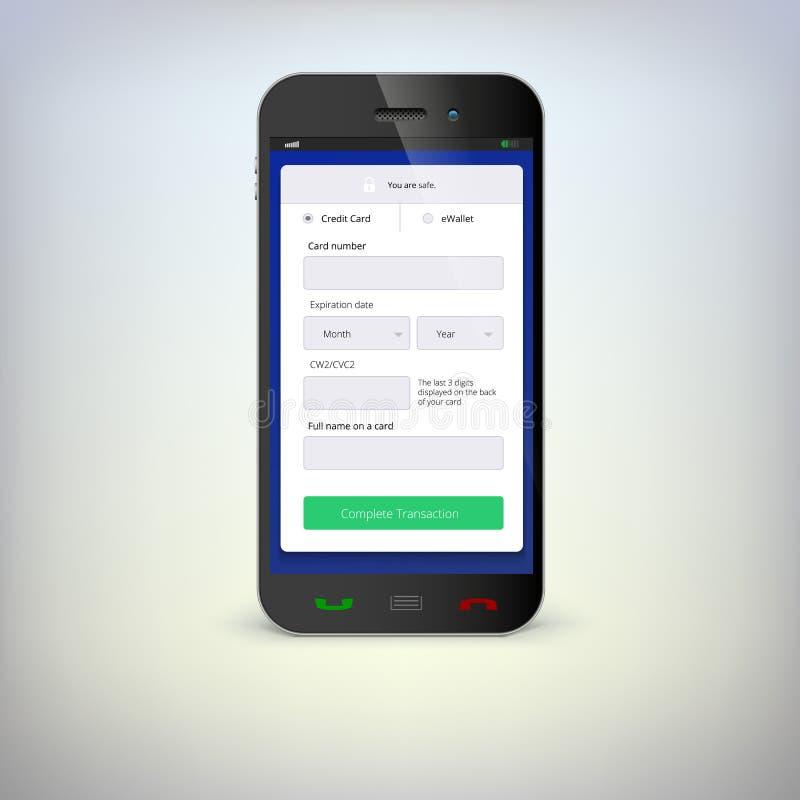 Telefon z mobilnym portflem ilustracja wektor