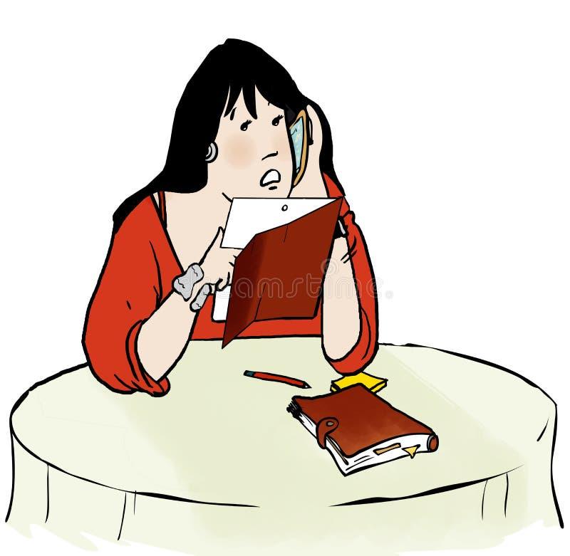 Telefonar da mulher de Ipad ilustração royalty free