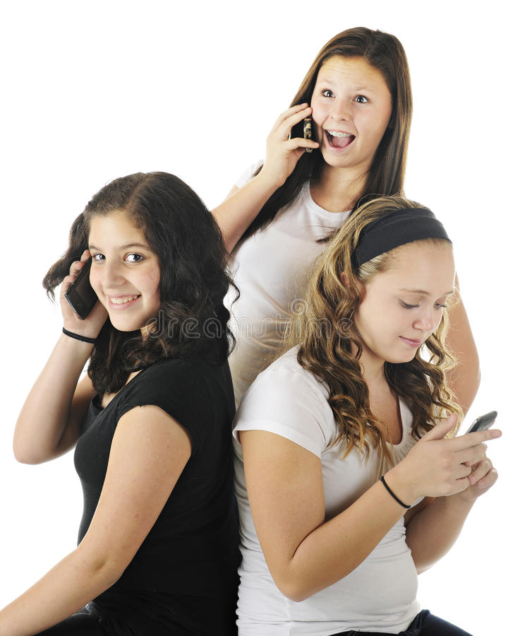 Telefonar Dos Jovens Adolescentes Foto de Stock
