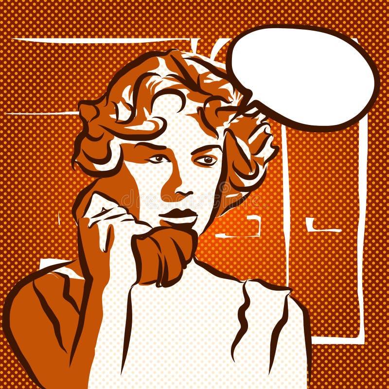 Telefonata colpita, schizzo d'annata illustrazione vettoriale