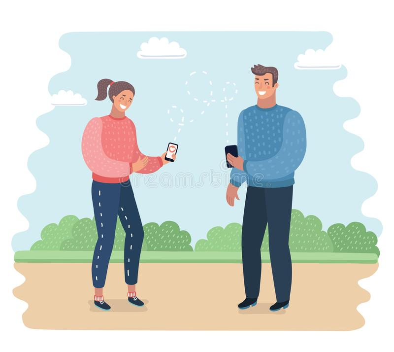 Telefonböjelse Le parinnehavhänder och samtal på mobiler Konversation och kommunikation royaltyfri illustrationer