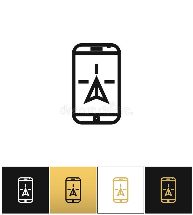 Telefone à navegação ou viaje ícone móvel do vetor do geolocation dos gps ilustração stock
