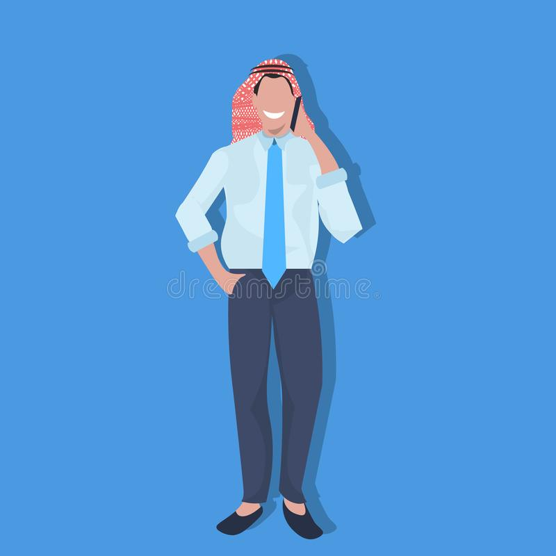 Telefone árabe do homem de negócio que chama a roupa tradicional vestindo homem de negócios móvel do árabe do conceito de uma com ilustração stock