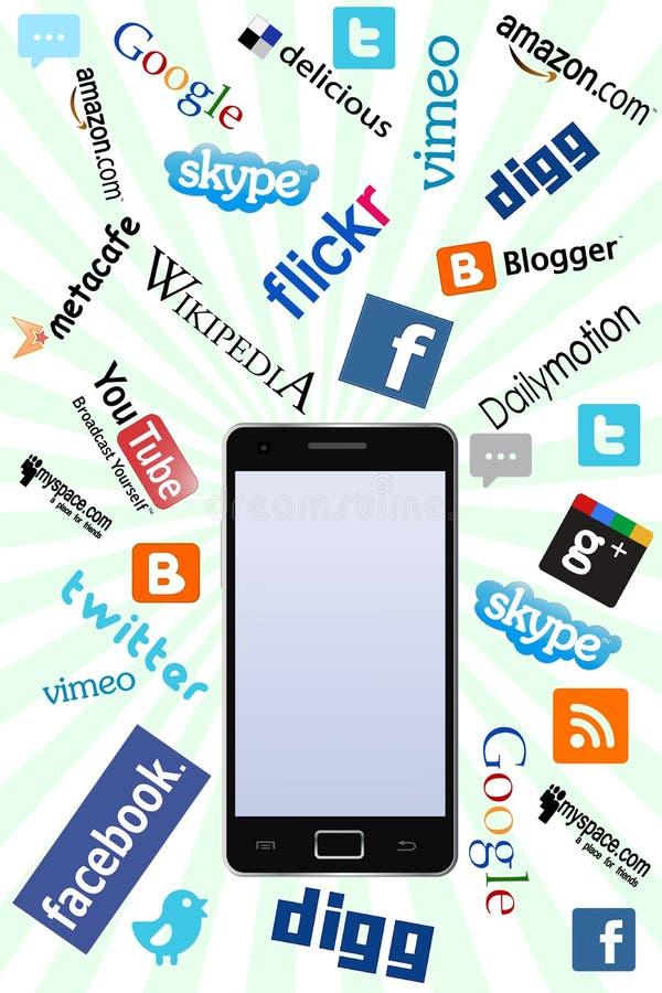 Telefone & logotipos sociais ilustração do vetor
