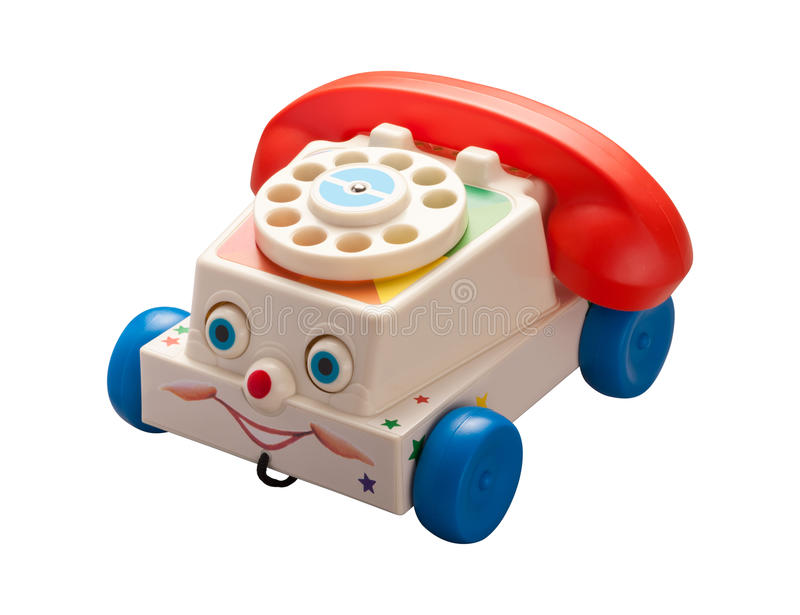 Telefone antigo do brinquedo com trajeto de grampeamento fotografia de stock royalty free