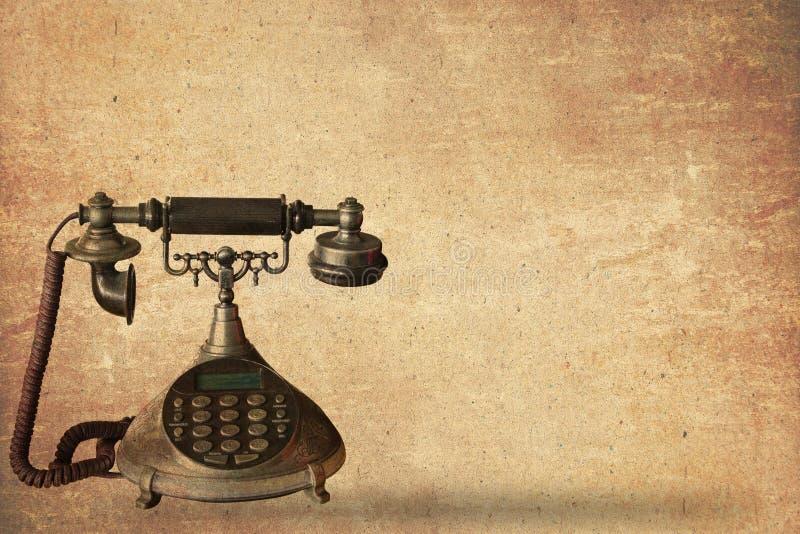 Telefone antigo no papel velho ilustração do vetor