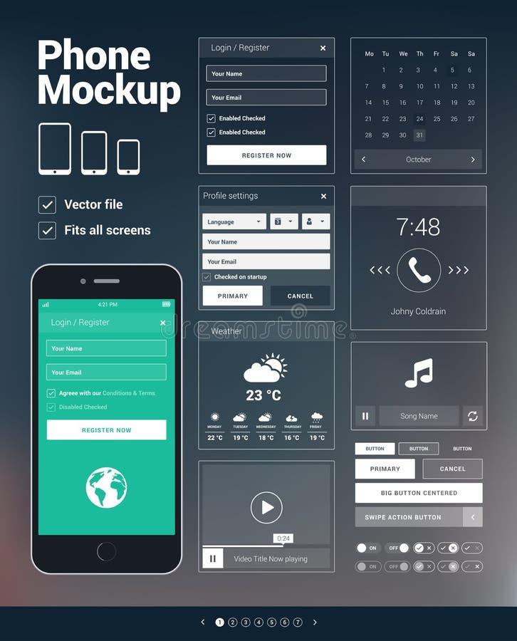 Telefone ao jogo dos elementos de UI para o desenvolvimento móvel dos apps ilustração royalty free