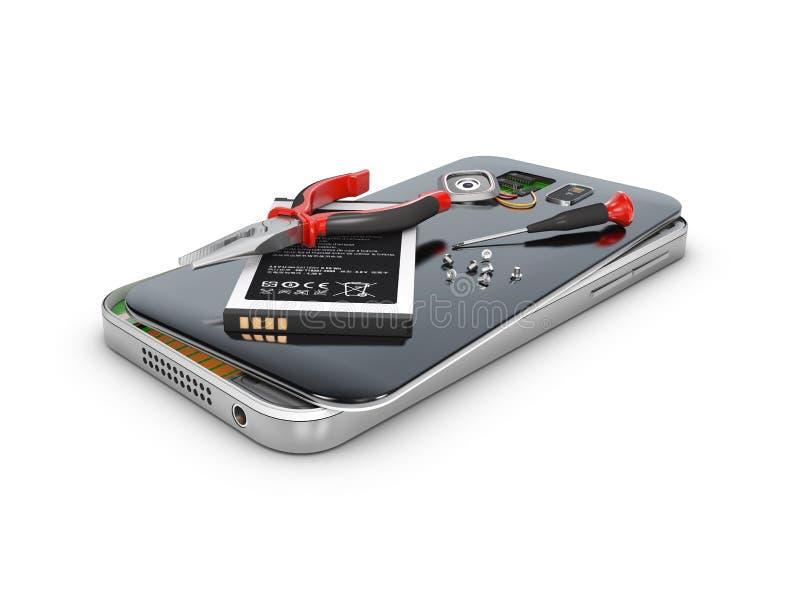 Telefone ao reparo e preste serviços de manutenção ao conceito, branco 3d isolado ilustração ilustração do vetor