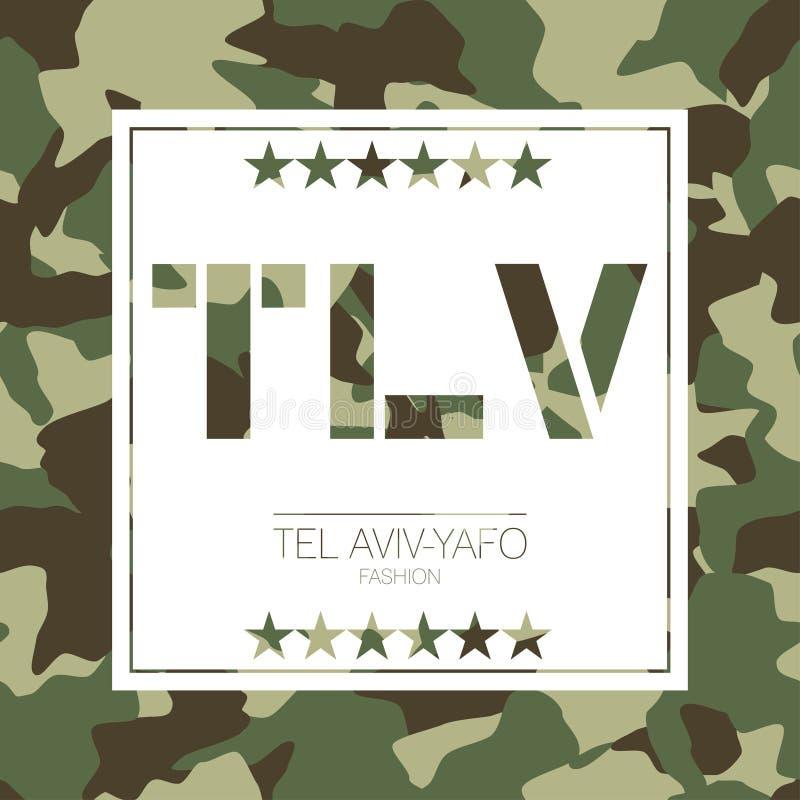 Telefone Aviv-Yafo, tipografia da camuflagem de Israel Gráficos do t-shirt ilustração do vetor