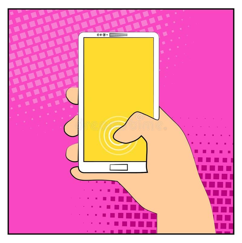 Telefone cômico do smartphone com sombras de intervalo mínimo Smartphone da terra arrendada da mão Estilo retro do pop art Projet ilustração do vetor