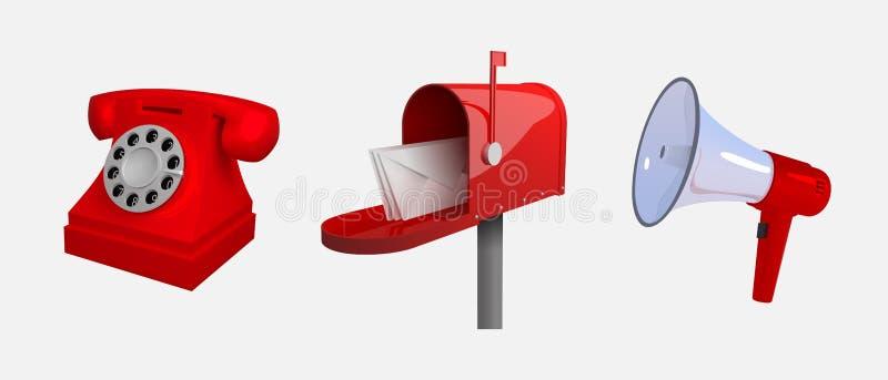 Telefone, caixa postal, megafone Meios de uma comunicação Jogo dos objetos isolados no fundo branco Reclastic estilizou o illu do ilustração do vetor