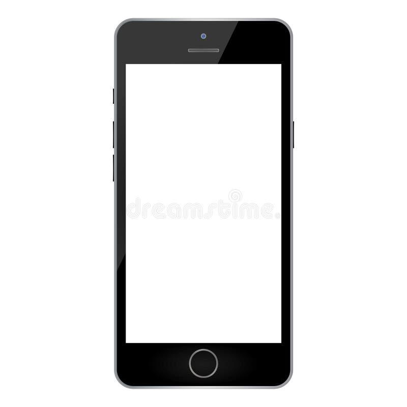 Telefone celular clássico preto do smartphone da vista dianteira com a tela vazia branca no fundo branco ícone preto do telefon ilustração royalty free