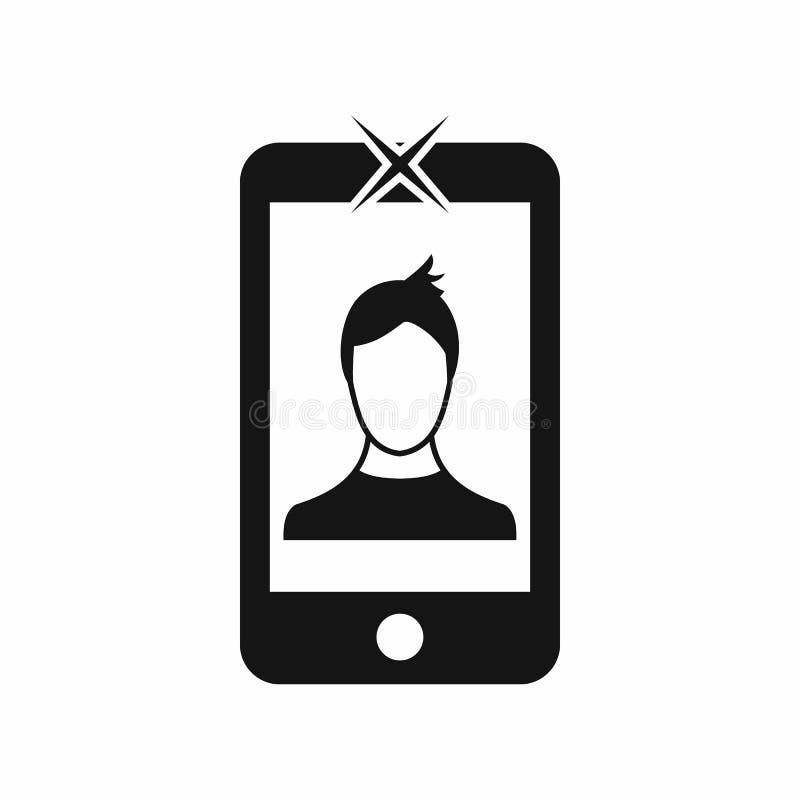 Telefone celular com ícone da foto, estilo simples ilustração royalty free
