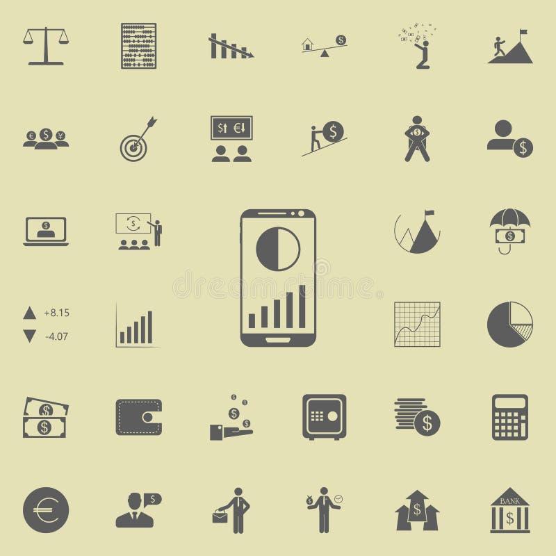 telefone celular com ícone dos diagramas Grupo detalhado de ícones da finança Sinal superior do projeto gráfico da qualidade Um d ilustração stock