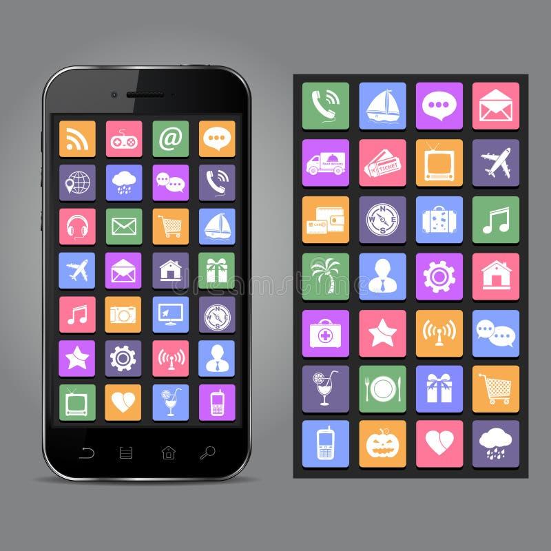 Telefone celular com ícones da aplicação ilustração royalty free
