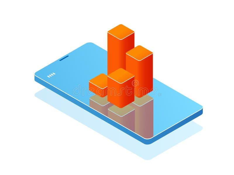 Telefone celular com carta de barra na tela, aplicação da analítica, bandeira com vetor isométrico da estatística em linha do sma ilustração royalty free