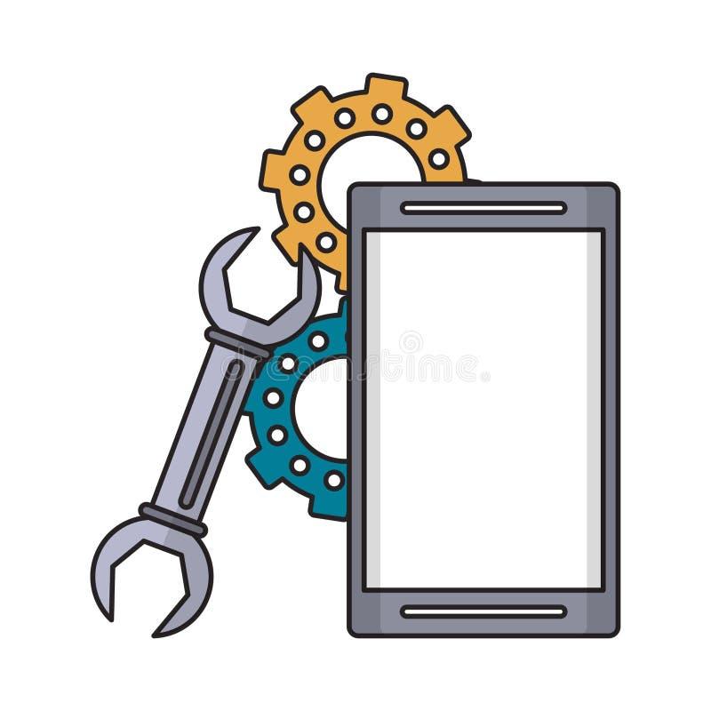 Telefone celular com chave e engrenagens ilustração stock