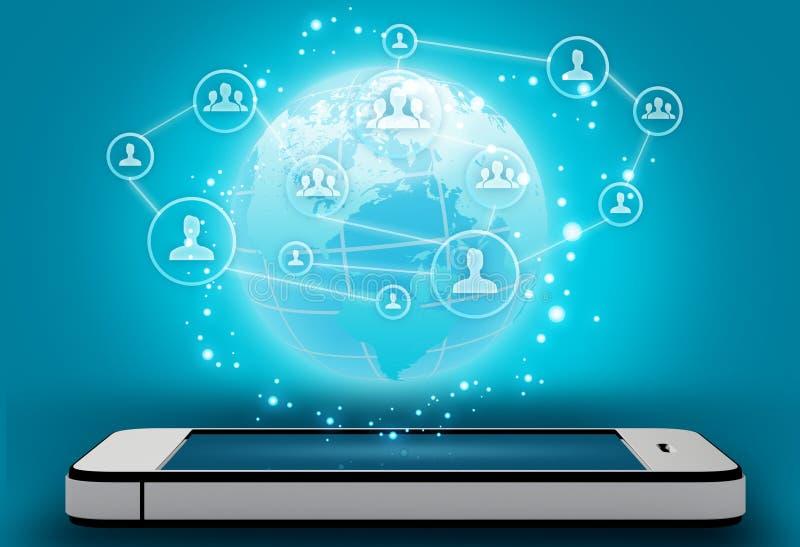 Telefone celular com e povos do ícone no mapa ilustração stock