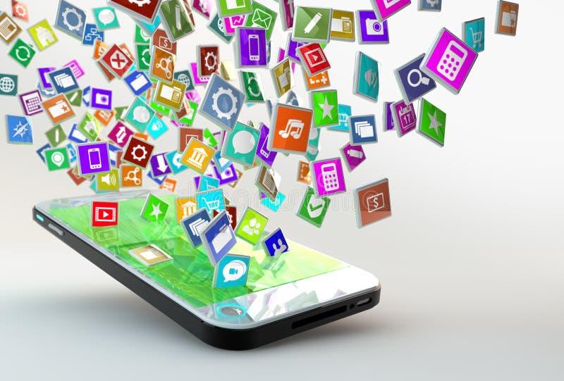Telefone celular com a nuvem de ícones da aplicação ilustração royalty free