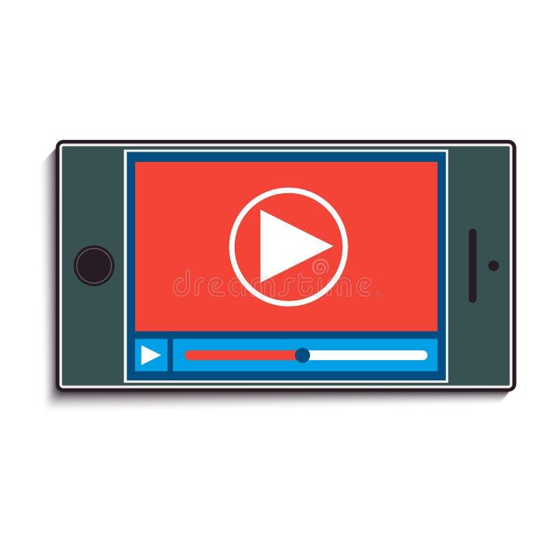 Telefone celular com observação de um vídeo ilustração royalty free
