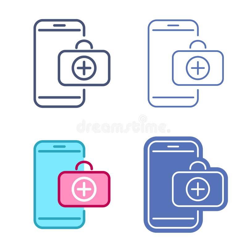 Telefone celular com símbolo do kit de primeiros socorros Grupo do ícone da telemedicina ilustração royalty free