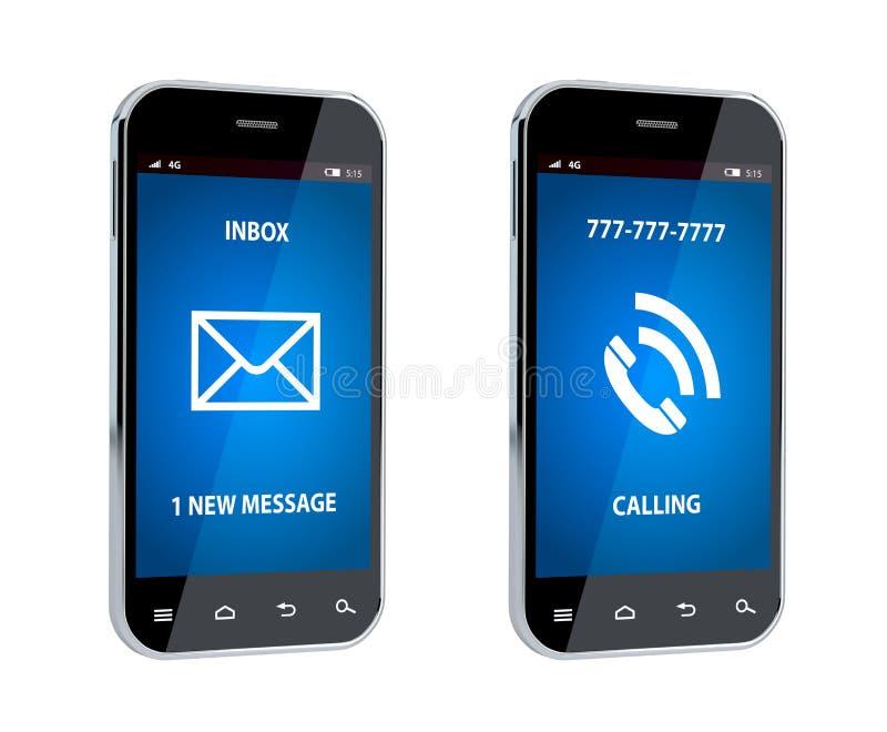 Telefone celular com sinal da chamada e da mensagem ilustração stock