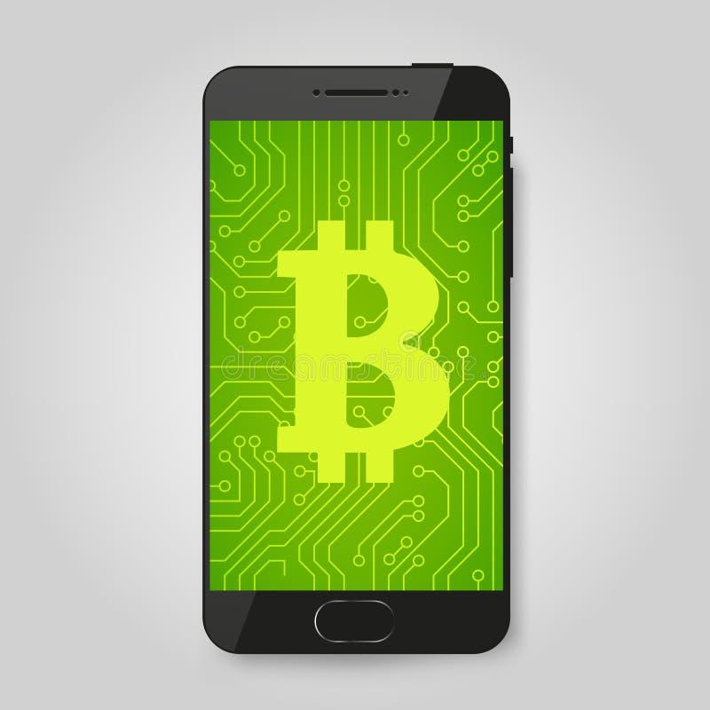 Telefone celular com sinal do bitcoin Conceito cripto do pagamento Sinal de Cryptocurrency ilustração do vetor