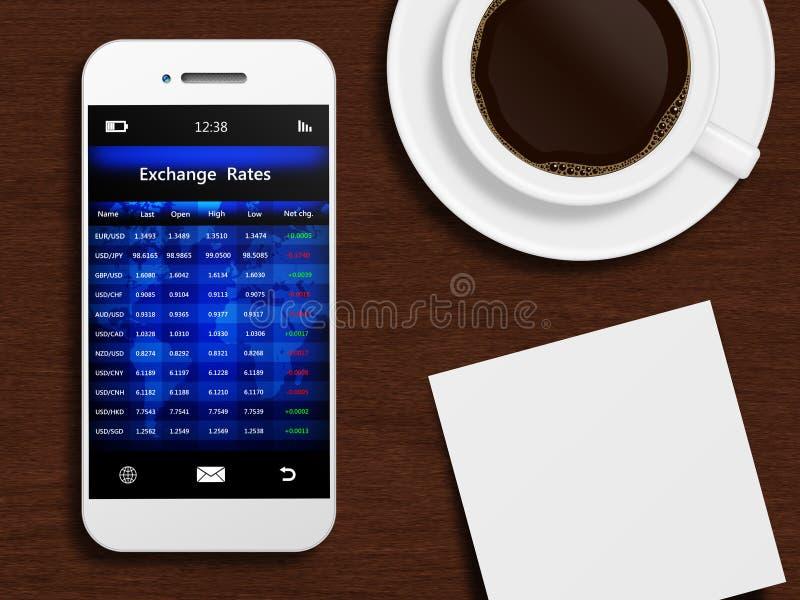 Telefone celular com tela da bolsa de valores, caneca de café ilustração stock
