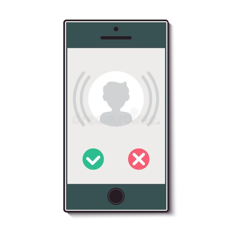 Telefone celular com uma chamada entrante ilustração do vetor